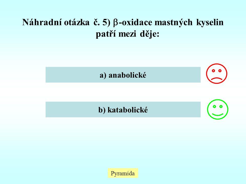 Náhradní otázka č. 5) -oxidace mastných kyselin patří mezi děje: