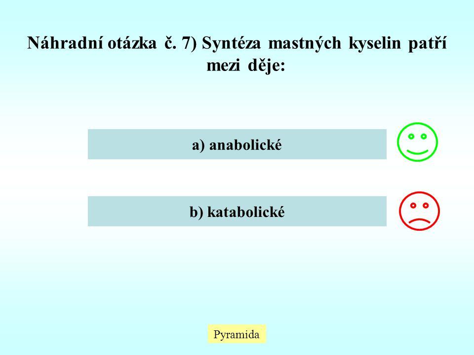 Náhradní otázka č. 7) Syntéza mastných kyselin patří mezi děje: