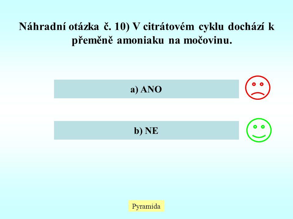 Náhradní otázka č. 10) V citrátovém cyklu dochází k přeměně amoniaku na močovinu.