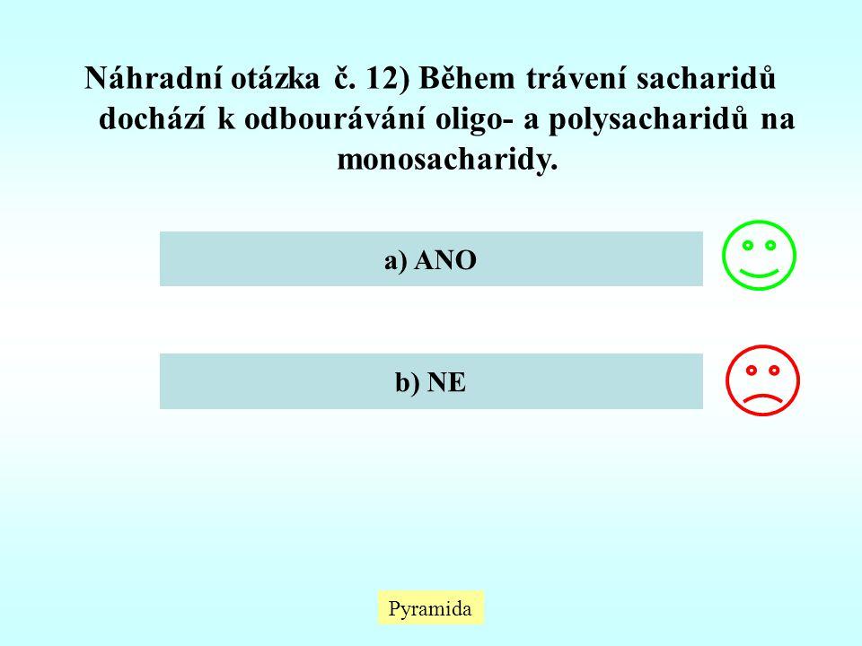 Náhradní otázka č. 12) Během trávení sacharidů dochází k odbourávání oligo- a polysacharidů na monosacharidy.