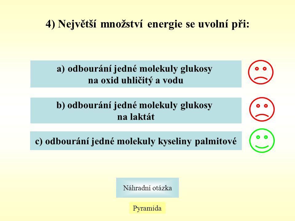 4) Největší množství energie se uvolní při: