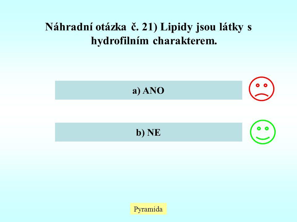 Náhradní otázka č. 21) Lipidy jsou látky s hydrofilním charakterem.