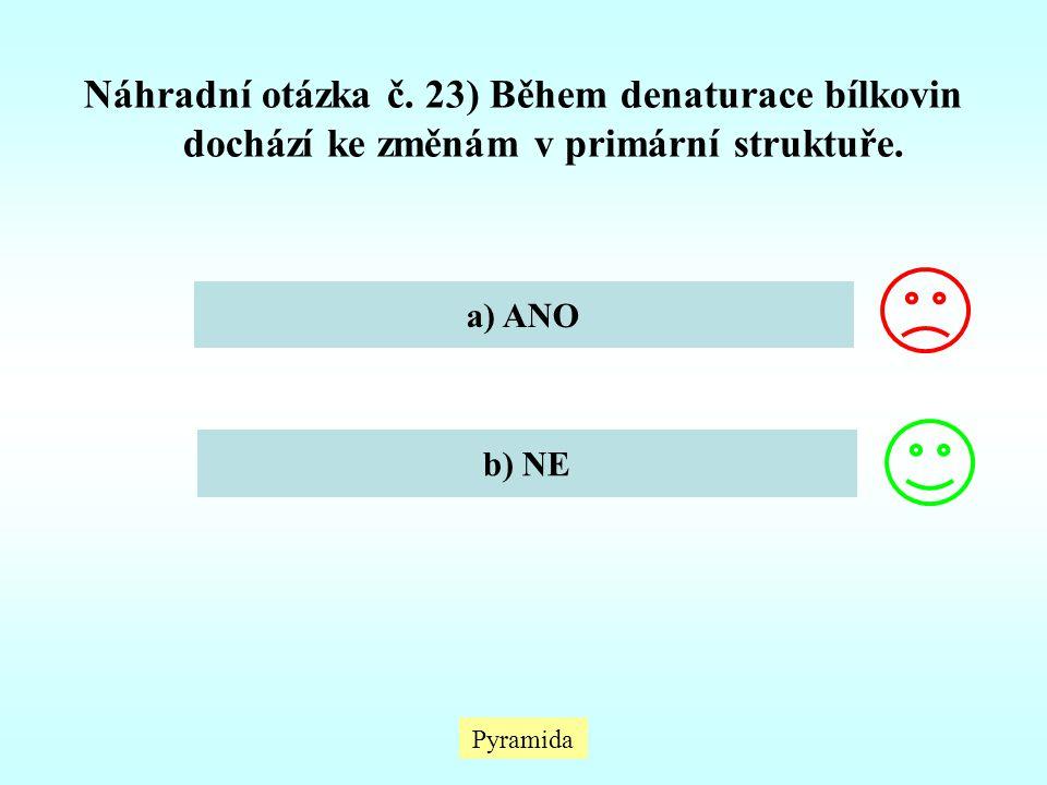Náhradní otázka č. 23) Během denaturace bílkovin dochází ke změnám v primární struktuře.