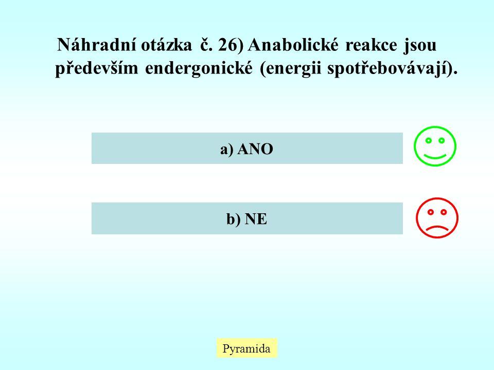Náhradní otázka č. 26) Anabolické reakce jsou především endergonické (energii spotřebovávají).