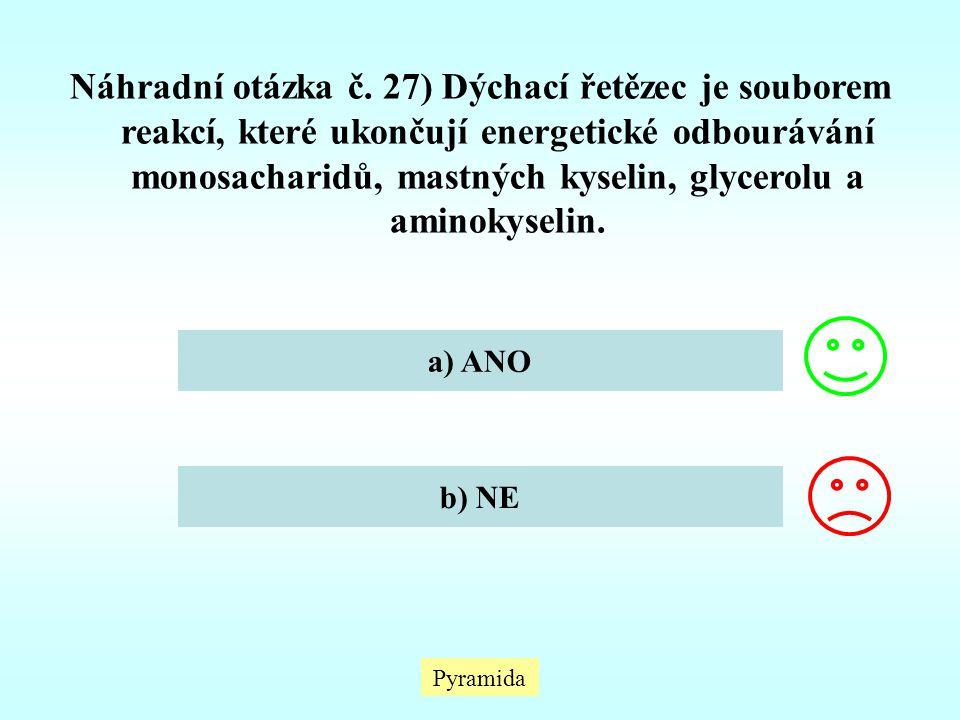 Náhradní otázka č. 27) Dýchací řetězec je souborem reakcí, které ukončují energetické odbourávání monosacharidů, mastných kyselin, glycerolu a aminokyselin.