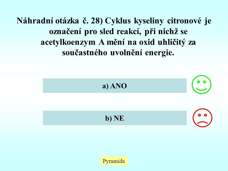 Náhradní otázka č. 28) Cyklus kyseliny citronové je označení pro sled reakcí, při nichž se acetylkoenzym A mění na oxid uhličitý za součastného uvolnění energie.