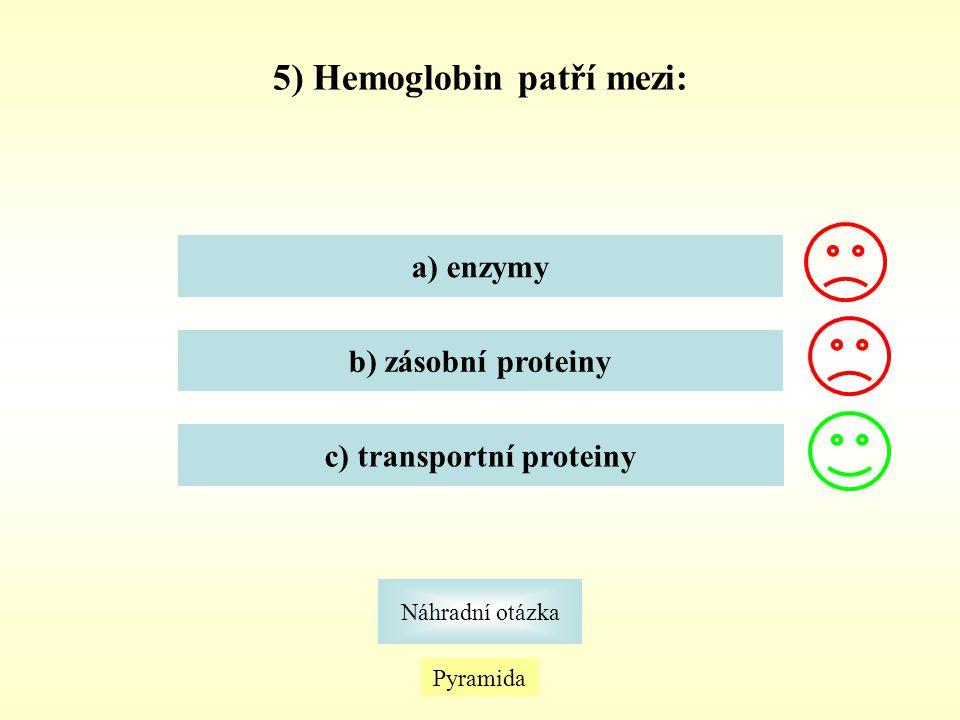 5) Hemoglobin patří mezi: c) transportní proteiny
