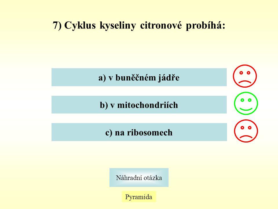 7) Cyklus kyseliny citronové probíhá: