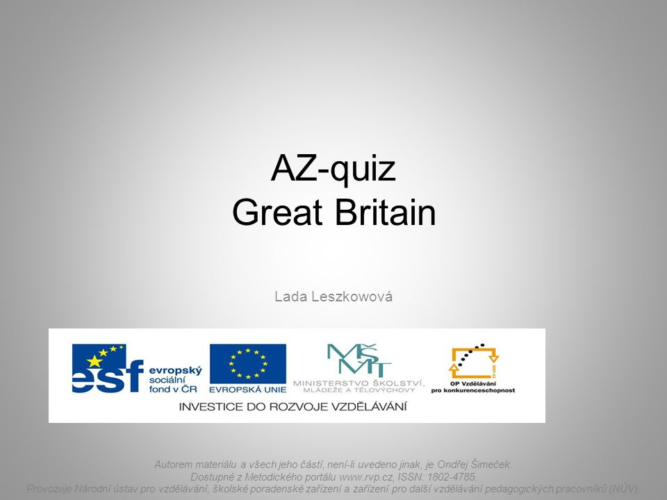 AZ-quiz Great Britain Lada Leszkowová