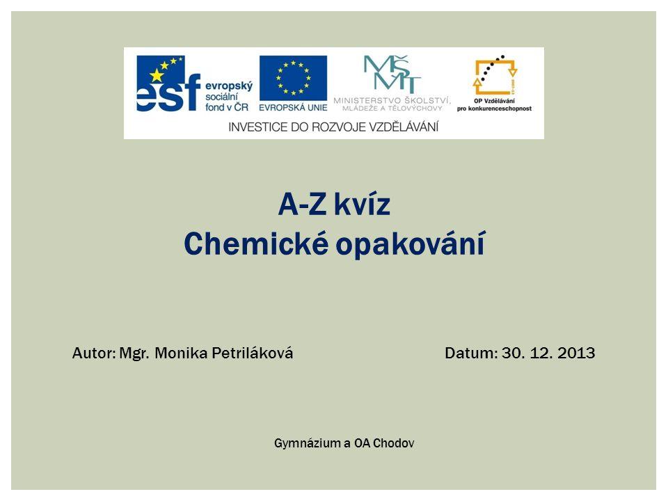 A-Z kvíz Chemické opakování
