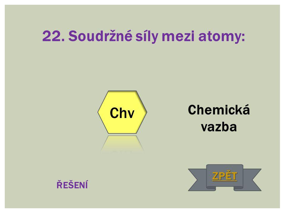 22. Soudržné síly mezi atomy:
