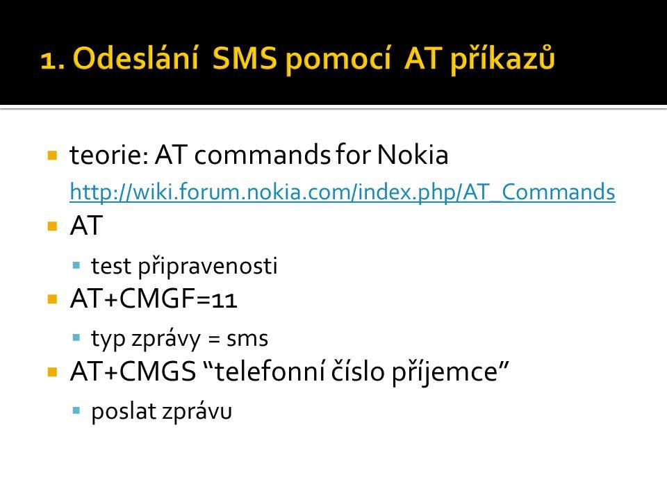 1. Odeslání SMS pomocí AT příkazů