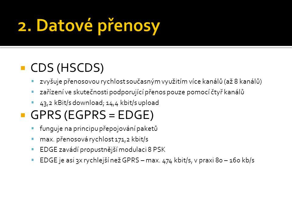 2. Datové přenosy CDS (HSCDS) GPRS (EGPRS = EDGE)