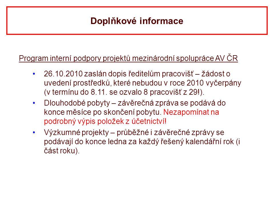 Doplňkové informace Program interní podpory projektů mezinárodní spolupráce AV ČR.