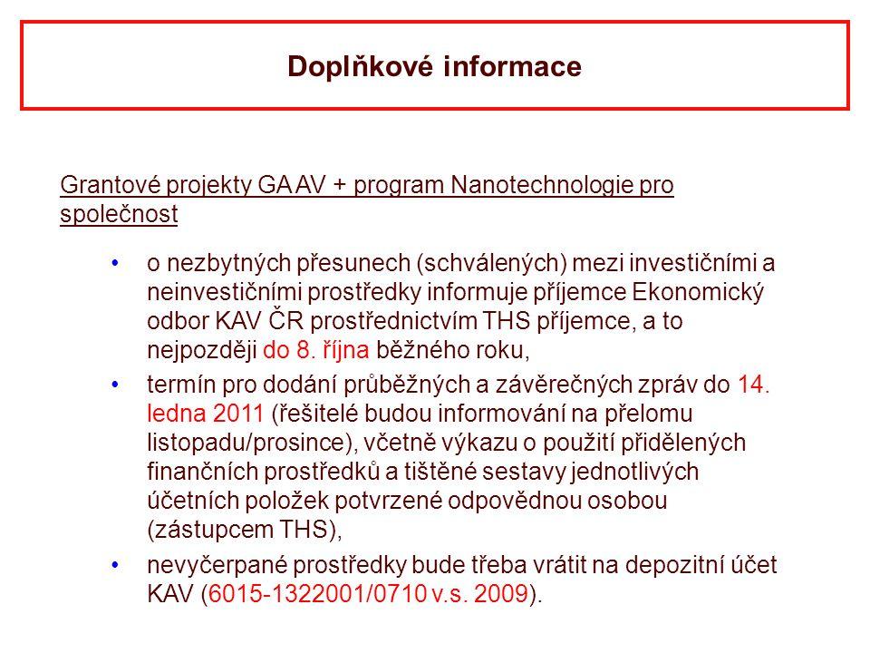 Doplňkové informace Grantové projekty GA AV + program Nanotechnologie pro společnost.
