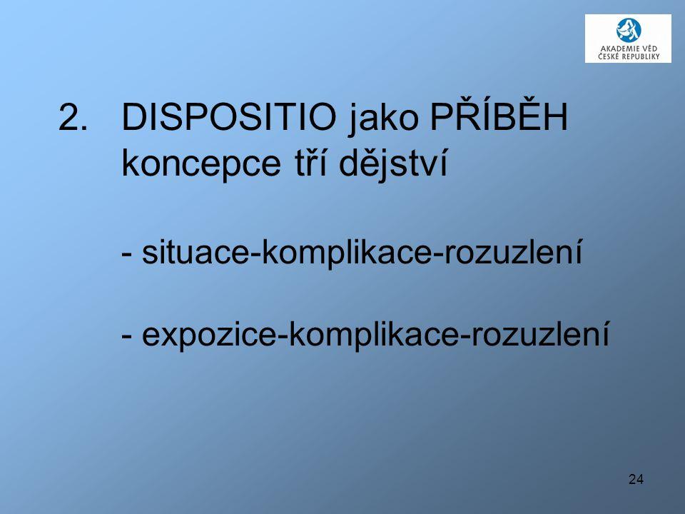 DISPOSITIO jako PŘÍBĚH koncepce tří dějství - situace-komplikace-rozuzlení - expozice-komplikace-rozuzlení
