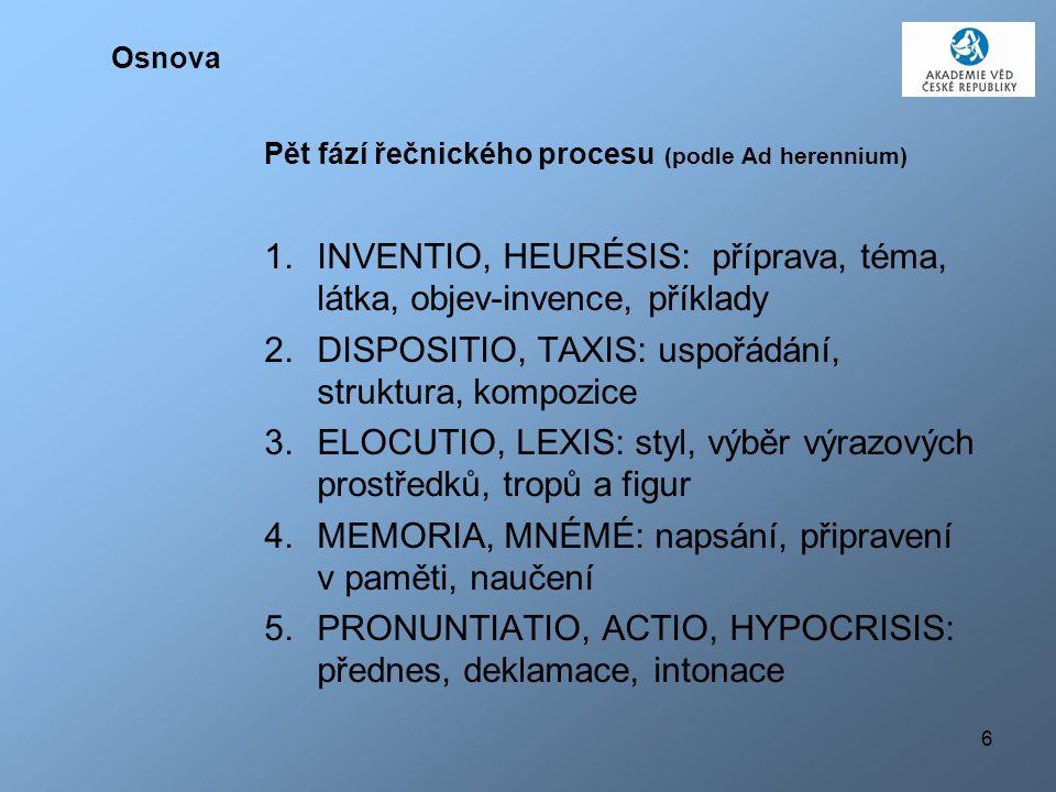 INVENTIO, HEURÉSIS: příprava, téma, látka, objev-invence, příklady