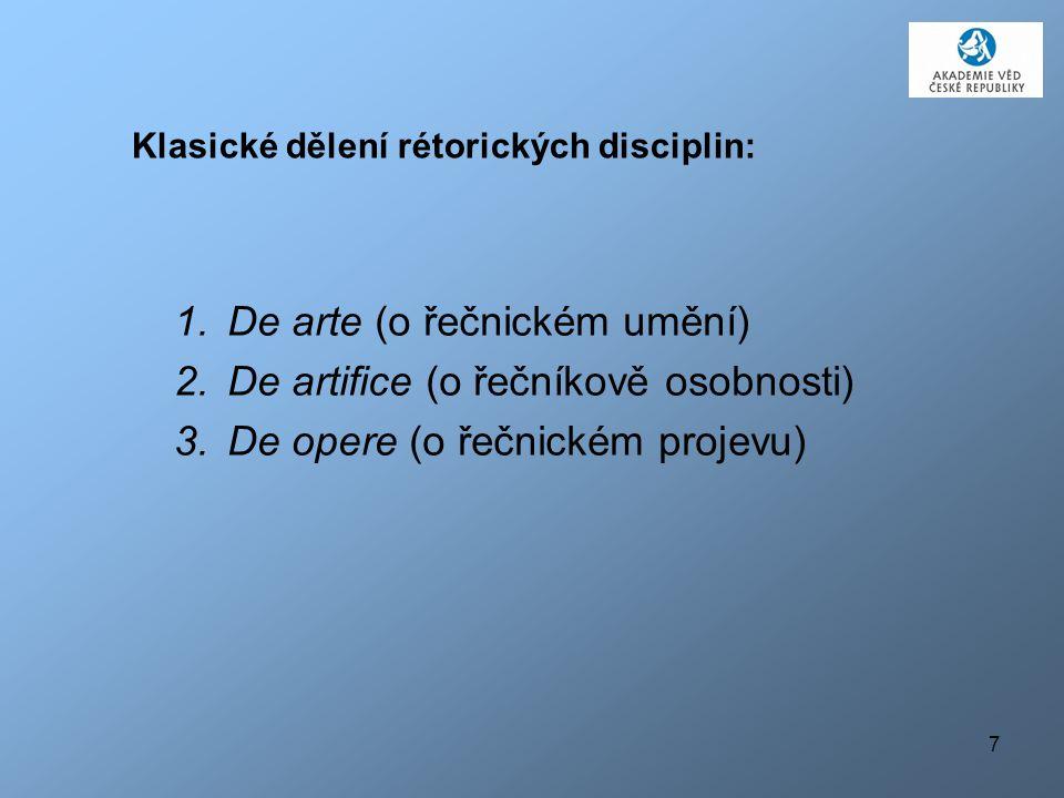 Klasické dělení rétorických disciplin: