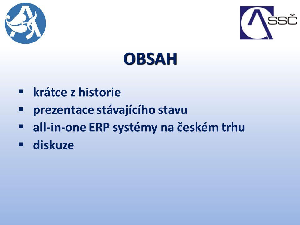 OBSAH krátce z historie prezentace stávajícího stavu