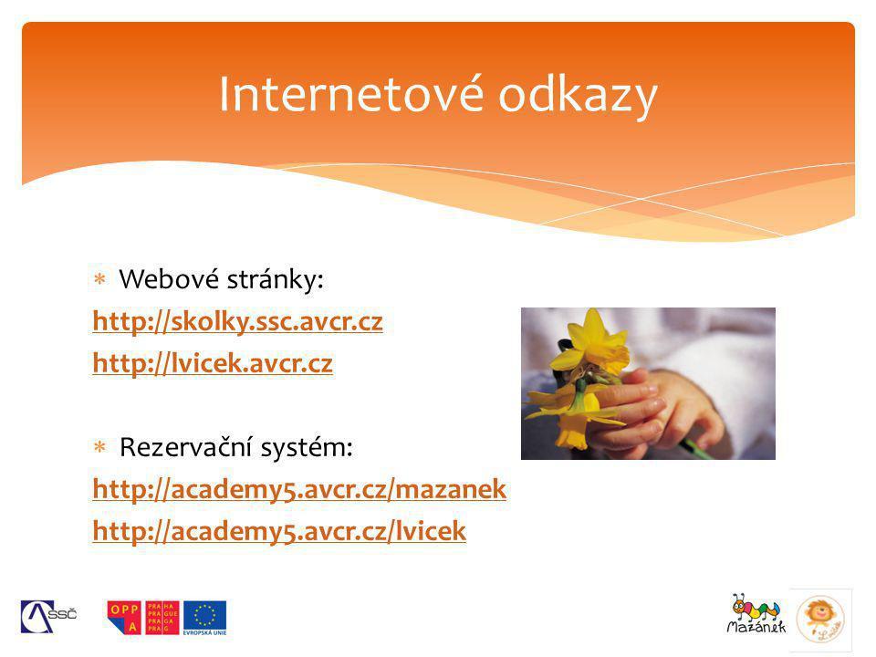 Internetové odkazy Webové stránky: http://skolky.ssc.avcr.cz