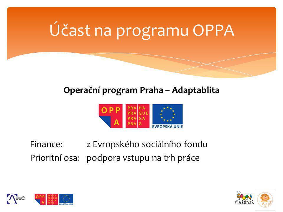 Účast na programu OPPA Operační program Praha – Adaptablita Finance: z Evropského sociálního fondu Prioritní osa: podpora vstupu na trh práce