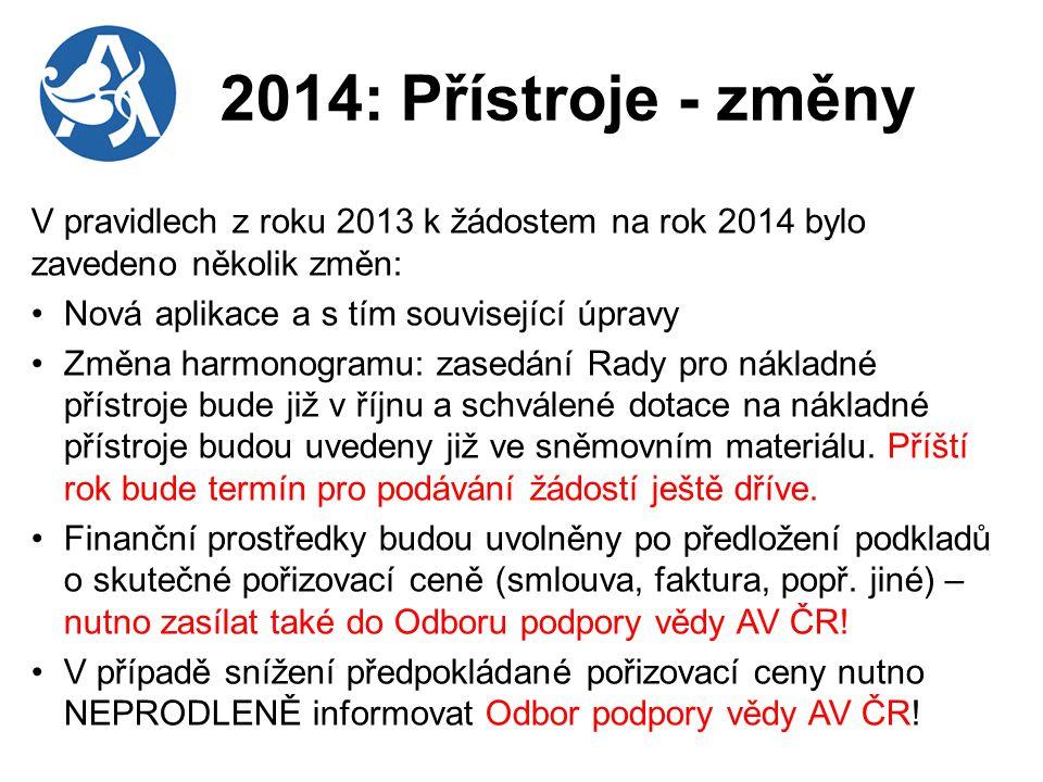 2014: Přístroje - změny V pravidlech z roku 2013 k žádostem na rok 2014 bylo zavedeno několik změn: