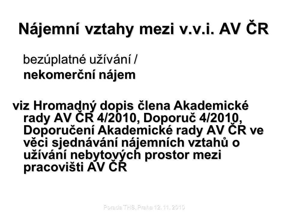 Nájemní vztahy mezi v.v.i. AV ČR
