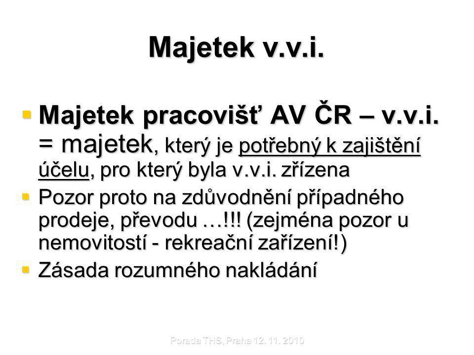 Majetek v.v.i. Majetek pracovišť AV ČR – v.v.i. = majetek, který je potřebný k zajištění účelu, pro který byla v.v.i. zřízena.