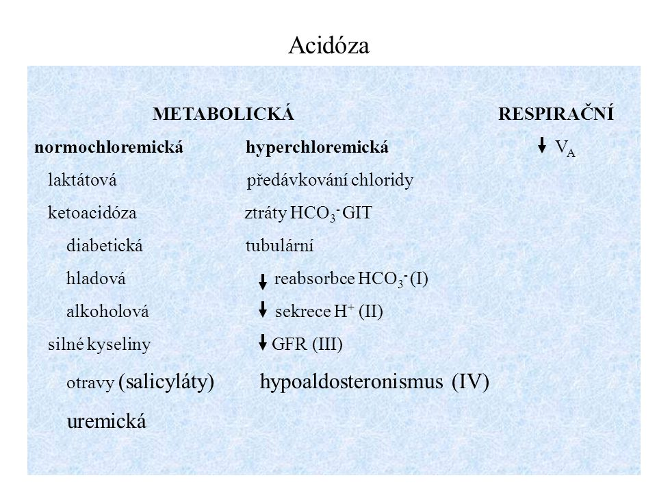 Acidóza uremická METABOLICKÁ RESPIRAČNÍ