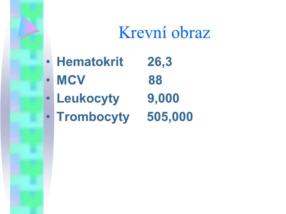 Krevní obraz Hematokrit 26,3. MCV 88.