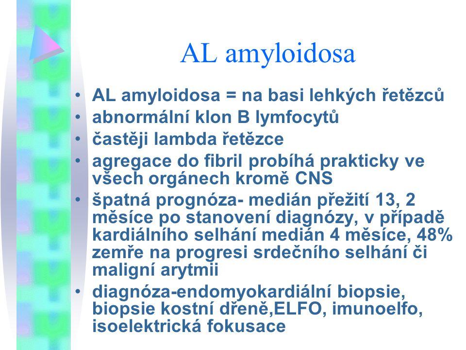 AL amyloidosa AL amyloidosa = na basi lehkých řetězců