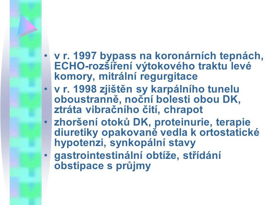 v r. 1997 bypass na koronárních tepnách, ECHO-rozšíření výtokového traktu levé komory, mitrální regurgitace