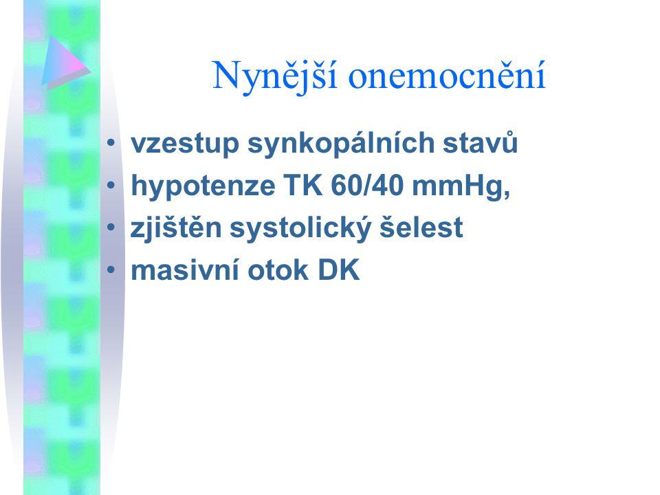 Nynější onemocnění vzestup synkopálních stavů hypotenze TK 60/40 mmHg,