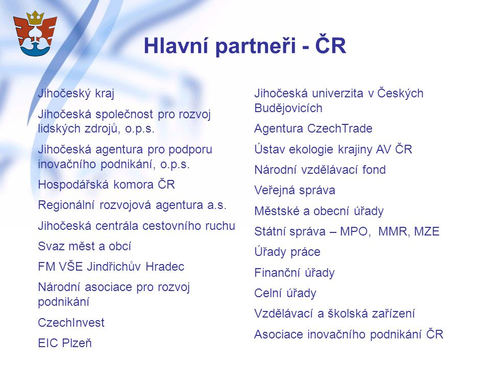 Hlavní partneři - ČR Jihočeský kraj