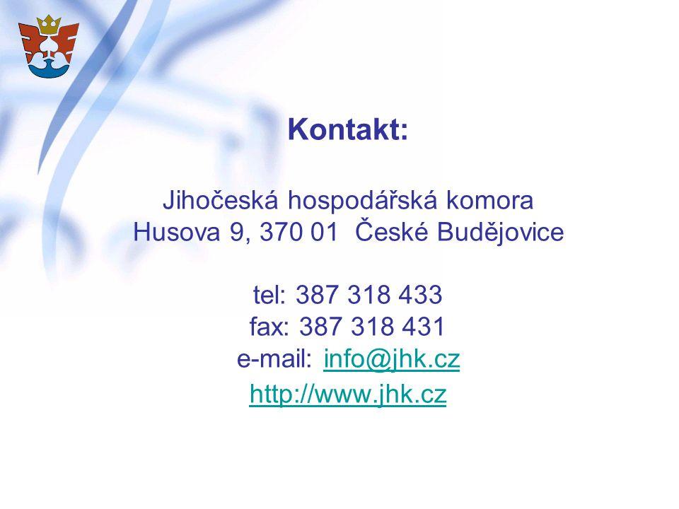 Kontakt: Jihočeská hospodářská komora Husova 9, 370 01 České Budějovice tel: 387 318 433 fax: 387 318 431 e-mail: info@jhk.cz http://www.jhk.cz