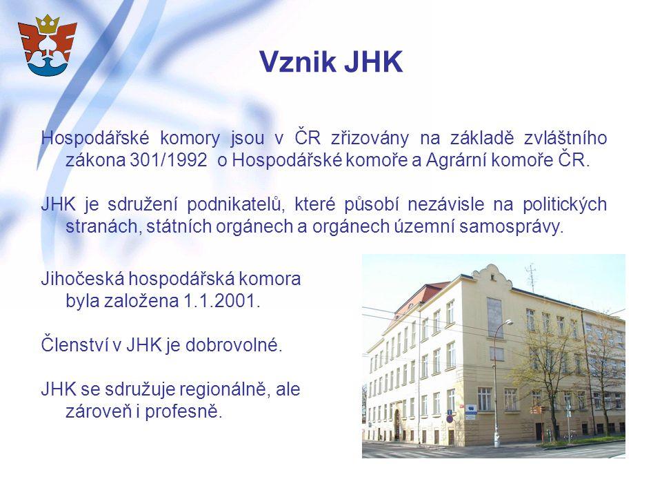 Vznik JHK Hospodářské komory jsou v ČR zřizovány na základě zvláštního zákona 301/1992 o Hospodářské komoře a Agrární komoře ČR.