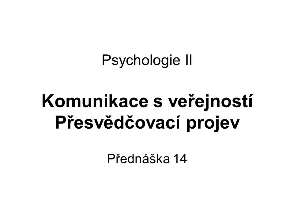 Psychologie II Komunikace s veřejností Přesvědčovací projev