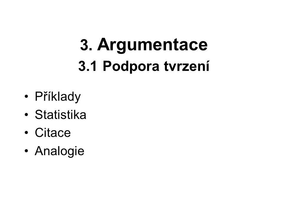 3. Argumentace 3.1 Podpora tvrzení