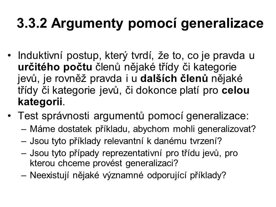3.3.2 Argumenty pomocí generalizace
