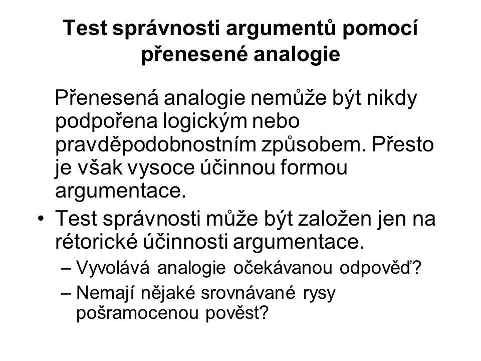 Test správnosti argumentů pomocí přenesené analogie