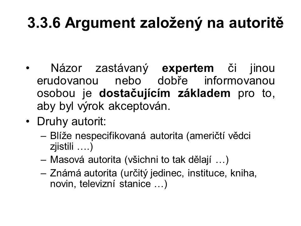 3.3.6 Argument založený na autoritě