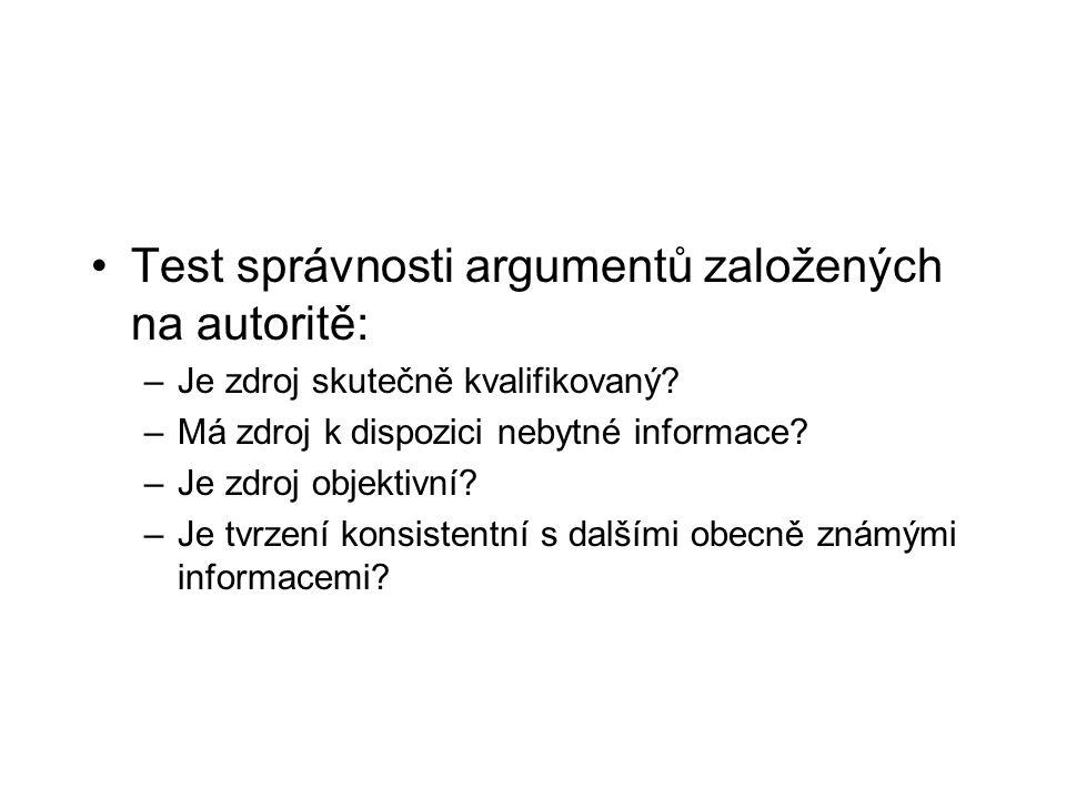 Test správnosti argumentů založených na autoritě: