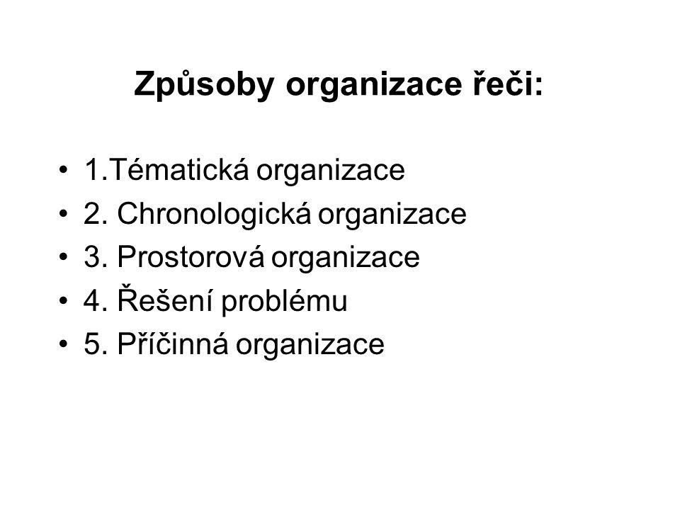 Způsoby organizace řeči: