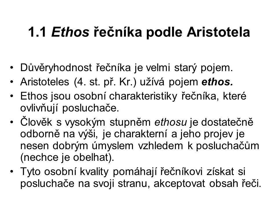 1.1 Ethos řečníka podle Aristotela
