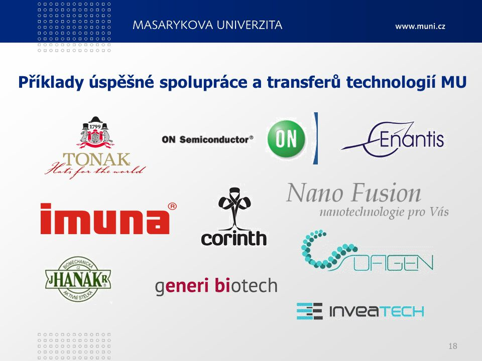 Příklady úspěšné spolupráce a transferů technologií MU