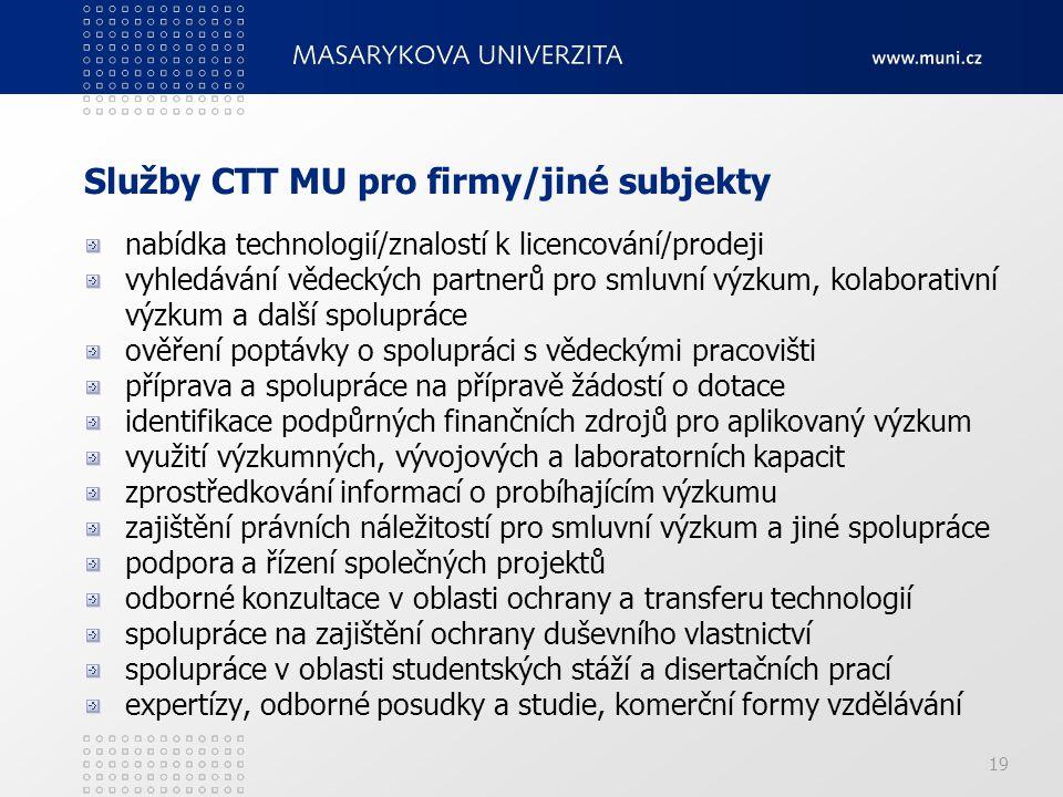 Služby CTT MU pro firmy/jiné subjekty