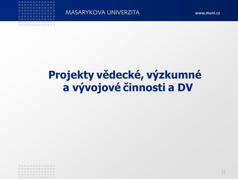 Projekty vědecké, výzkumné a vývojové činnosti a DV