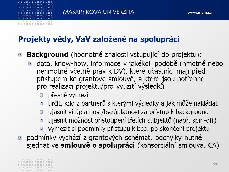 Projekty vědy, VaV založené na spolupráci