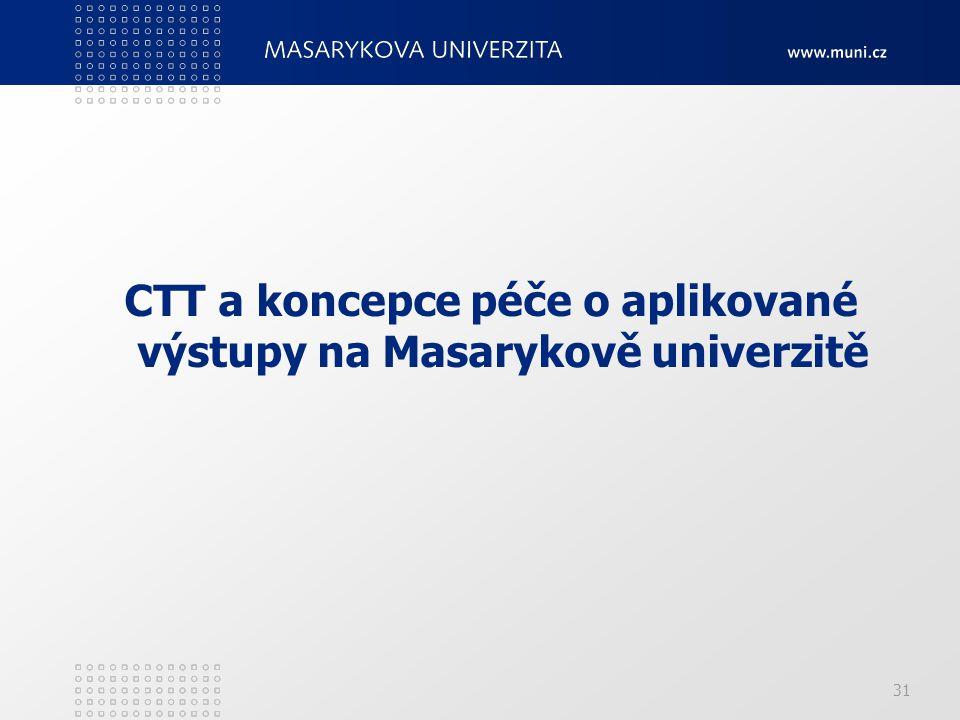 CTT a koncepce péče o aplikované výstupy na Masarykově univerzitě