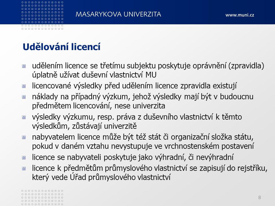 Udělování licencí udělením licence se třetímu subjektu poskytuje oprávnění (zpravidla) úplatně užívat duševní vlastnictví MU.